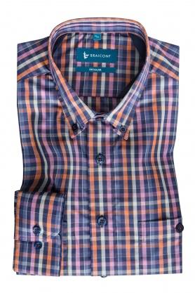 Camasa casual croita cu tipar clasic, realizata din tesatura in carouri colorate