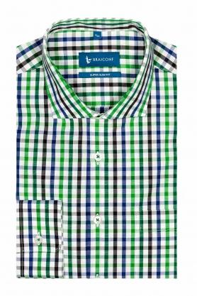 Camasa pentru barbati alba in carouri verzi