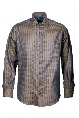 Camasa culoare maro cu picouri bleumarin pentru barbati