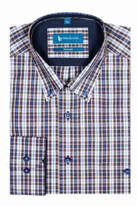 Camasa culoare alb cu carouri maro si bleu pentru barbati