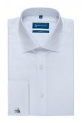 Camasa easy-care alb uni maneca lunga cu manseta dubla