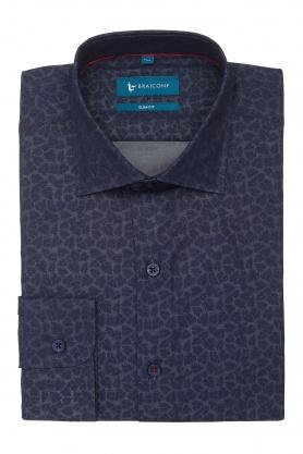 Camasa casual culoare bleumarin cu print alb pentru barbati