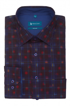 Camasa casual culoare bleumarin cu print pentru barbati