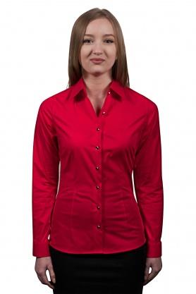 Bluza dama office culoare rosu cu maneca lunga
