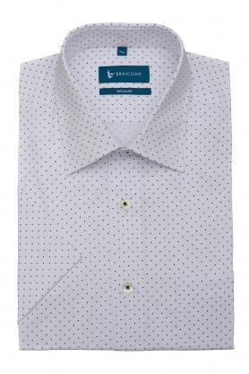 Camasa culoare alb cu buline negre pentru barbati