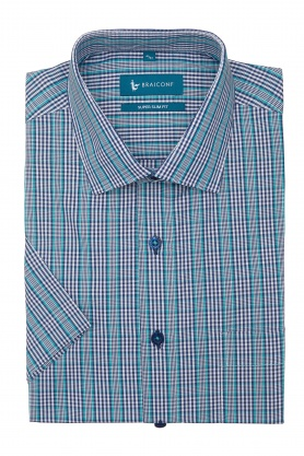 Camasa bleu in carouri cu maneca scurta pentru barbati