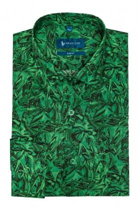 Camasa casual verde cu print pentru barbati