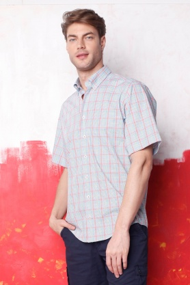 Camasa cu maneca scurta in carouri multicolore pentru barbati