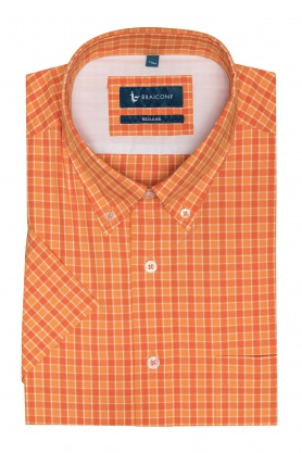 Camasa pentru barbati portocalie in carouri galbene