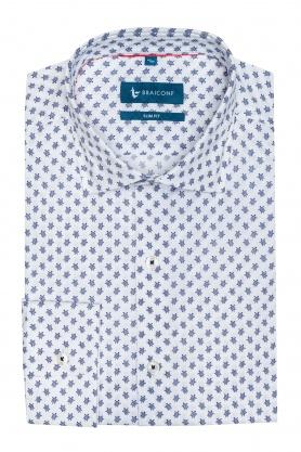 Camasa alba cu print pentru barbati