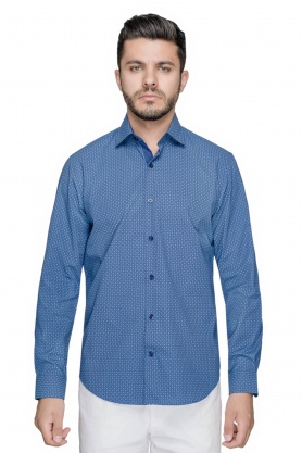 Camasa casual bleu cu desene