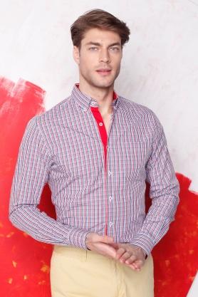 Camasa alba in carouri multicolore pentru barbati