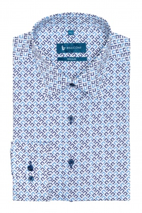 Camasa alba cu print forme geometrice bleu pentru barbati