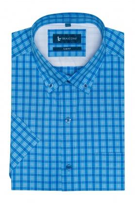 Camasa slim fit bleu cu maneca scurta pentru barbati