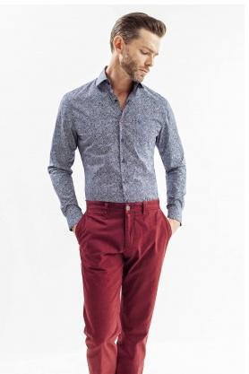 Camasa casual culoare bleu cu print pentru barbati