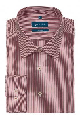 Camasa business culoare alb cu dungi rosii pentru barbati