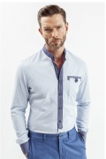 Camasa pentru barbati casual bleu in carouri