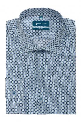 Camasa casual cu print floral bleu pentru barbati