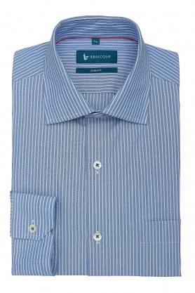 Camasa office culoare bleu cu dungi albe pentru barbati