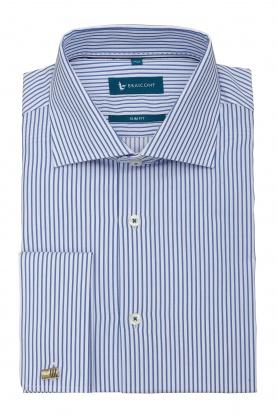 Camasa business culoare alb cu dungi bleu pentru barbati