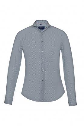 Camasa casual bleu cu buline albe