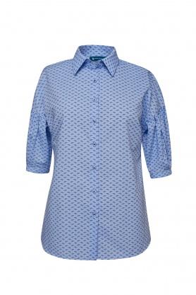 Bluza dama casual culoare bleu cu print