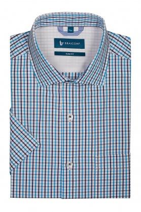 Camasa bleu din bumbac cu maneca scurta pentru barbati