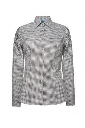 Bluza dama office culoare alb cu paisley gri