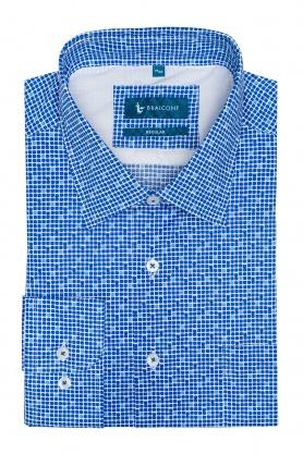 Camasa alba cu picouri bleu pentru barbati