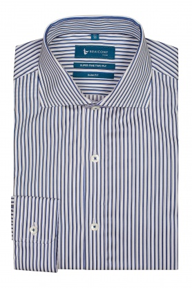 Camasa pentru barbati alba cu dungi fine bleu si negre