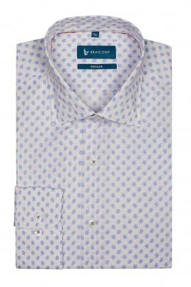 Camasa casual alba cu print bleu pentru barbati
