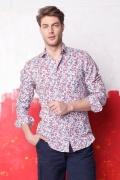 Camasa cambrata alba cu print floral pentru barbati