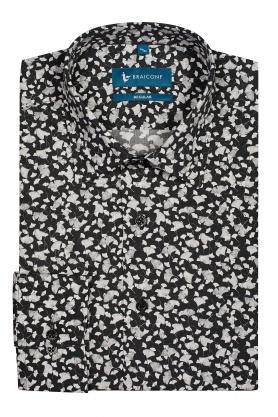 Camasa pentru barbati neagra cu desene albe din bumbac