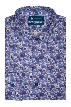 Camasa albastra cu print baloane pentru barbati