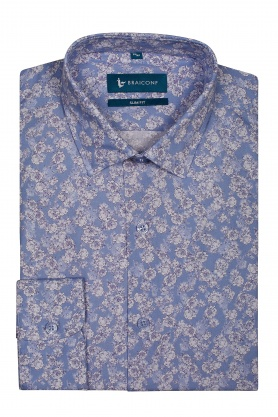 Camasa bleu cu print floral pentru barbati