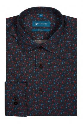 Camasa neagra cu desene bleu si rosii
