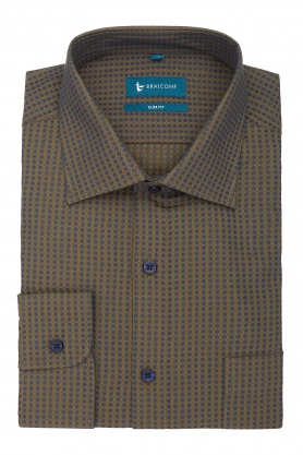 Camasa culoare maro cu buline bleu pentru barbati