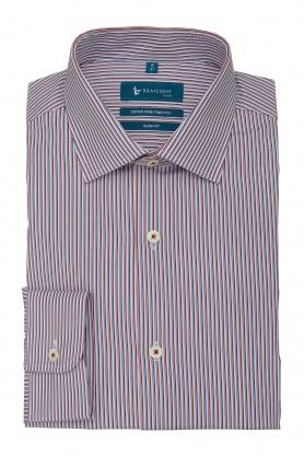 Camasa business cu dungi bleu si rosii pentru barbati