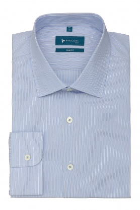 Camasa slim fit bleu cu dungi albe
