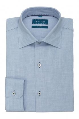 Camasa bleu din bumbac si lana pentru barbati