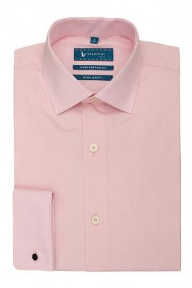 Camasa cu butoni culoare roz uni pentru barbati