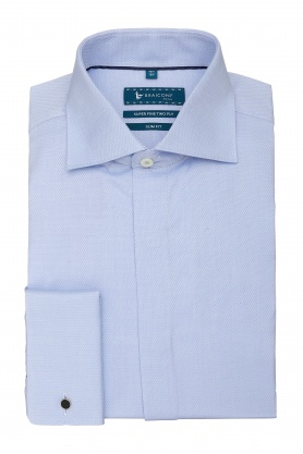 Camasa cu butoni culoare bleu uni pentru barbati