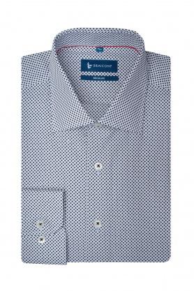 Camasa clasica alba din bumbac cu print pentru barbati