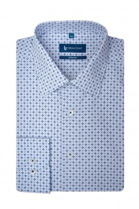 Camasa din bumbac alba cu print bleu pentru barbati