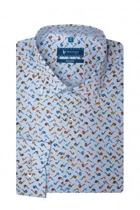 Camasa bleu cu print pipe pentru barbati