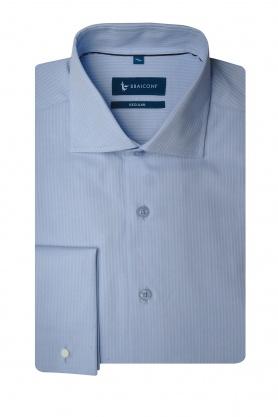 Camasa business bleu cu manserta dubla pentru barbati