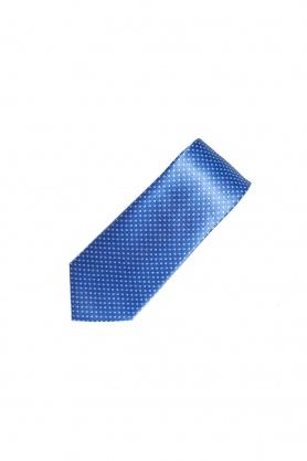 Cravata poliester bleu cu picouri albe
