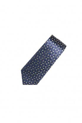 Cravata bleumarin cu paisley si print floral