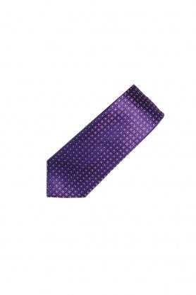 Cravata mov cu picouri albe