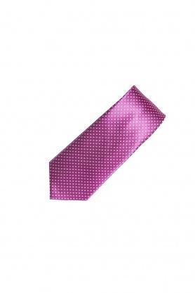 Cravata roz cu picouri albe